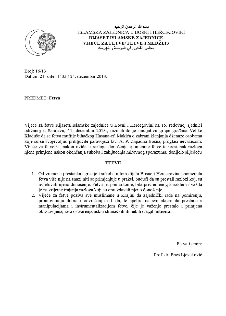 fetva klanjanje dzenaze pripadnicima paravojne formacije Zapadna Bosna 24.12.2013